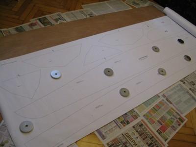 Изготовление каяка: Перенос выкройки на фанеру